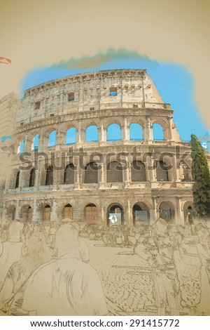 Colosseum (Coliseum) in Rome, Italy. Main tourist attraction of Rome. Travel background illustration. Painting with watercolor and pencil. Brushed artwork. Vector format. - stock vector