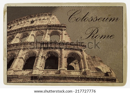 Colosseum (Coliseum) in Rome, Italy. Vintage travel postcard. - stock vector