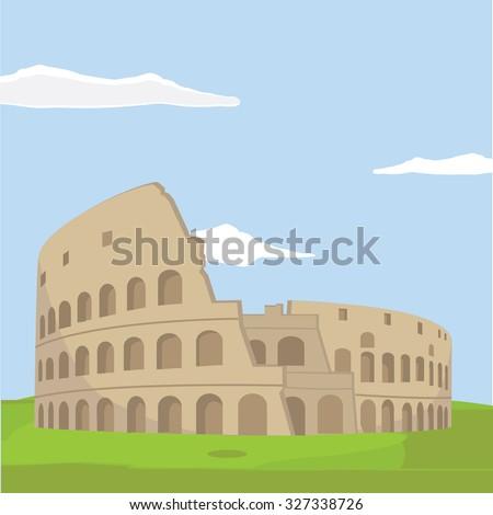 Colosseum in Rome background. Italy Landmark architecture vector illustration. - stock vector