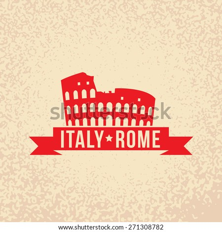 Colosseum - the symbol of Rome, Italy. Vintage stamp with red ribbon. - stock vector