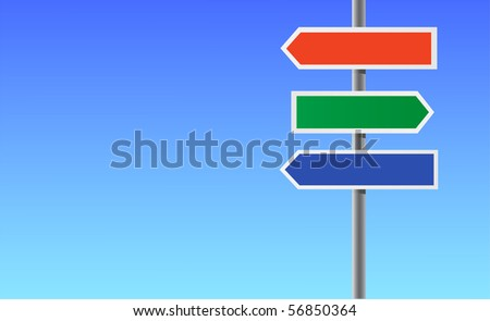 Colour blank directional sign. - stock vector