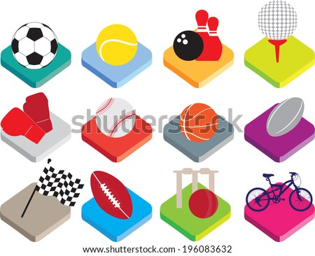 colour buttons for soccer, tennis, bowling, golf, boxing, baseball, basketball, rugby, motor racing, american football, cricket, cycling. - stock vector