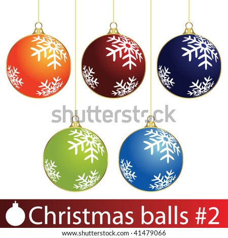 Colour Christmas balls. Vector illustration. - stock vector