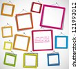 Colour frames on the white background. Eps10 .Image contain transparency and various blending modes - stock photo
