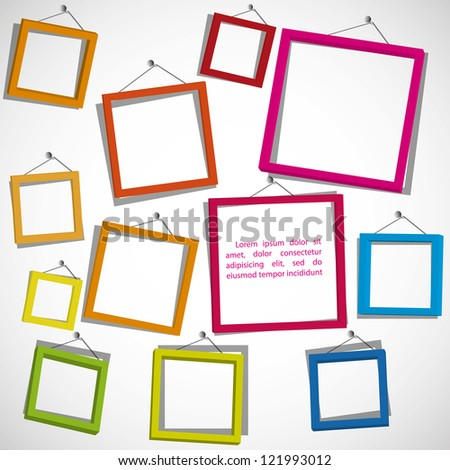 Colour frames on the white background. Eps10 .Image contain transparency and various blending modes - stock vector