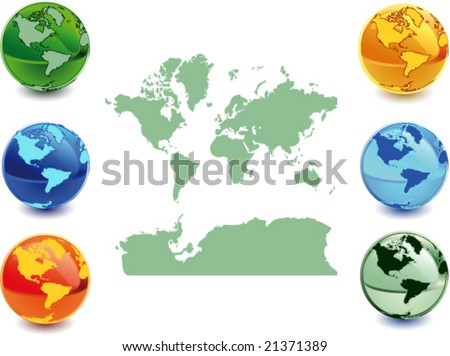 Colour globe kit and map. Vector illustration - easy to edit.
