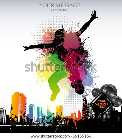 Colour grunge  poster - stock vector