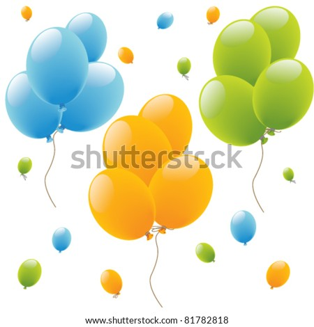 Colour holiday balloons background, texture - stock vector