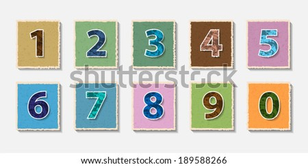 Colour Numbers set on torn paper.Vector illustration.