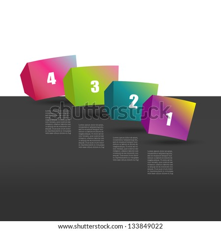 Colour speech cube diagram with text fields. Infographic vector. - stock vector