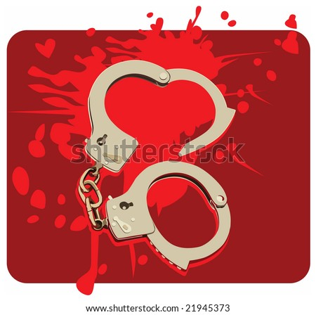 Colour vector illustration of handcuffs on wine-coloured background with red spots. This picture can be used in a literal or figurative sense. - stock vector