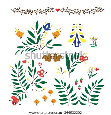 Set Hand Drawn Paisley Flowers Vector 143572477