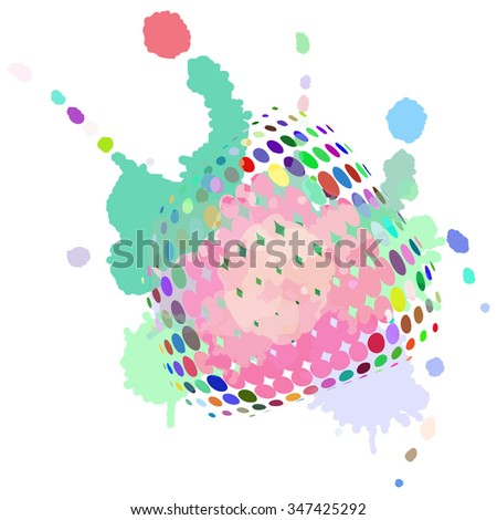 Colourful abstract background with blots and smudges on a white background.