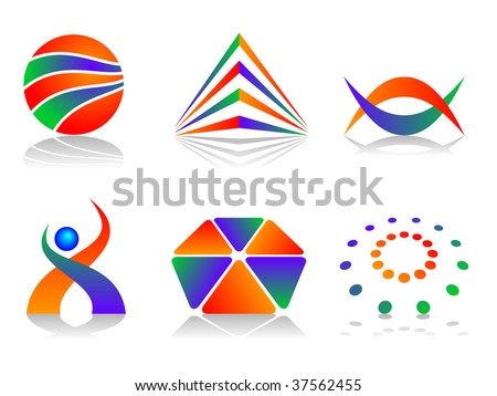 Colourful and Abstract Vector Icon Design Element Set - stock vector