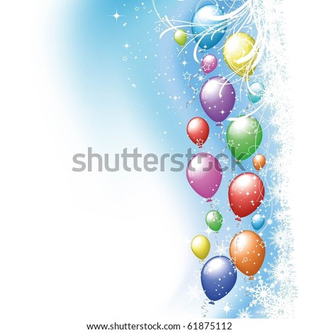 Colourful balloons on snowflake background