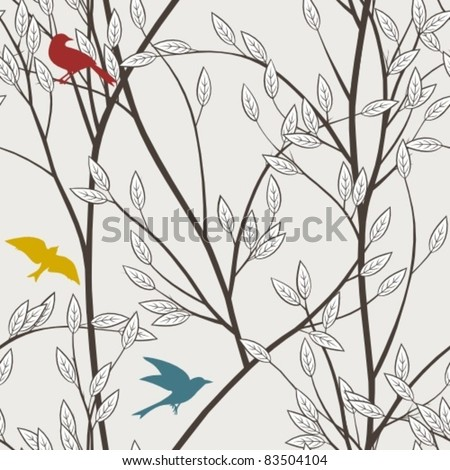 colourful birds and branches - stock vector
