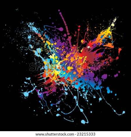 Colourful bright ink splat design with a black background