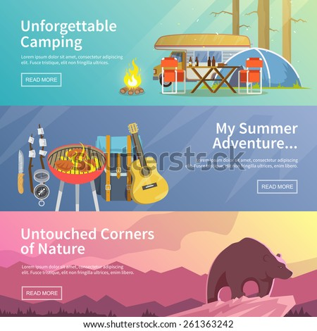 Colourful camping vector flat banner set for your business, web sites etc. Quality design illustrations, elements and concept. Unforgettable camping. Summer adventure. Untouched corners of nature. - stock vector