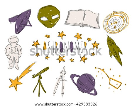 Colourful children's illustration with a pencil. The collection of linear hand drawn icons. Icons tools of the astronomer. Vector illustration