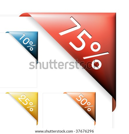 Colourful corner ribbons for items with various percentage sale in your eshop - stock vector