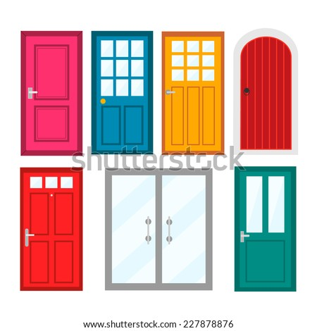Colourful front doors to houses and buildings set in flat design style, vector illustration - stock vector