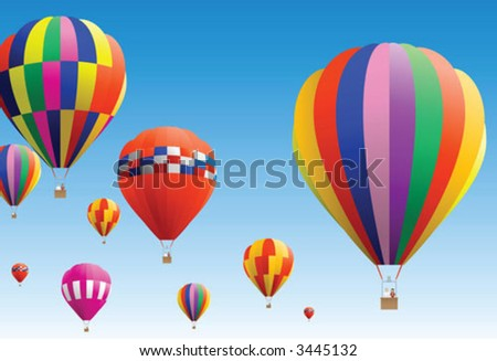Colourful hot air balloon flying in sky - stock vector