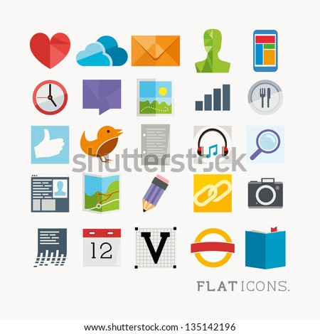 Colourful Icon Designs, modern styled vector set. - stock vector