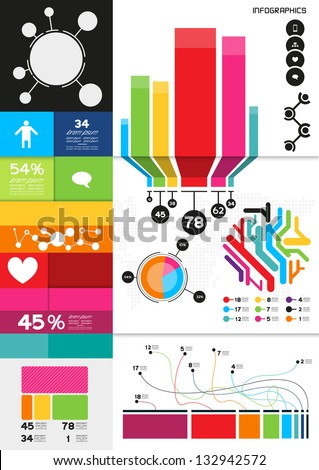 Colourful  Infographics, charts and infomation elements - stock vector