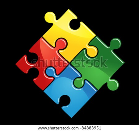 Colourful interlocked puzzle pieces in red, yellow, blue and green on a black background, vector illustration. Rasterized version also available in gallery - stock vector