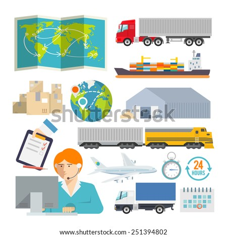 Colourful logistics vector icon set for your business, web sites, presentations, advertising etc. Quality design illustrations, elements and concept. Flat style. - stock vector