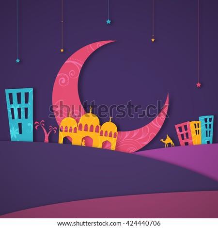 Colourful paper design of Islamic Elements and Desert for Muslim Community Festival Celebration. - stock vector