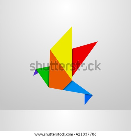 colourful paper origami bird, logo template element