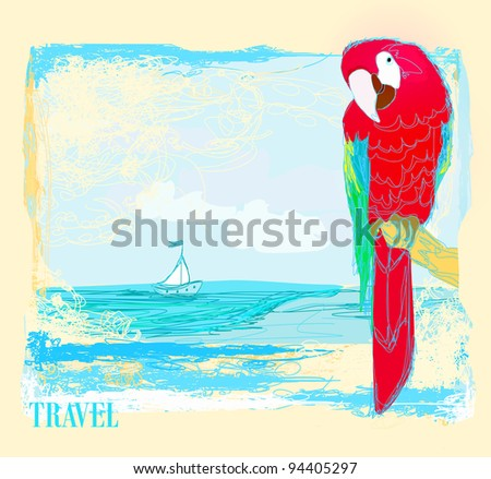 Colourful parrot bird sitting on the perch on the beach - stock vector