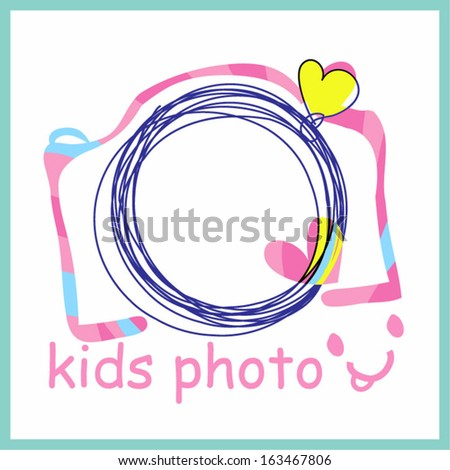 colourful pink camera clipart for kids photo shooting , kids party, doodle sketch camera with two color love hearts - stock vector