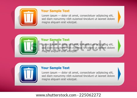 Colourful recycle garbage can and design template vector. Graphic or website. - stock vector