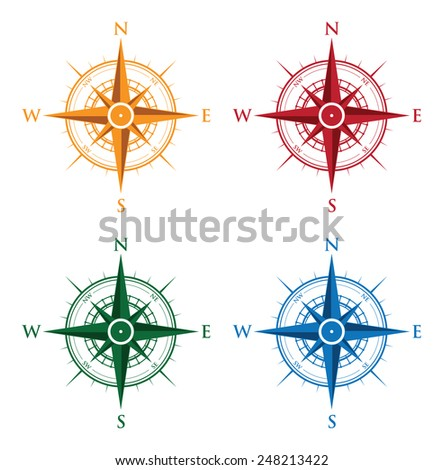 colourful set of compasses - stock vector