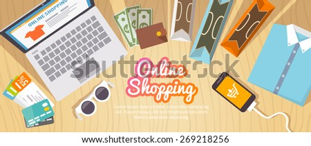 Colourful shopping vector flat banner for your business, web sites etc. Quality design illustrations, elements and concept. Online shopping. Buy online. Delivery. - stock vector