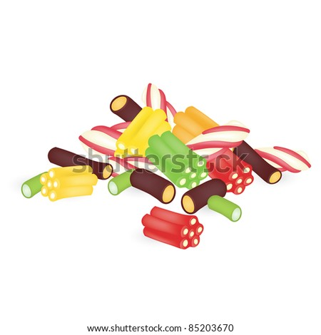 Colourful sweets on the white background - stock vector