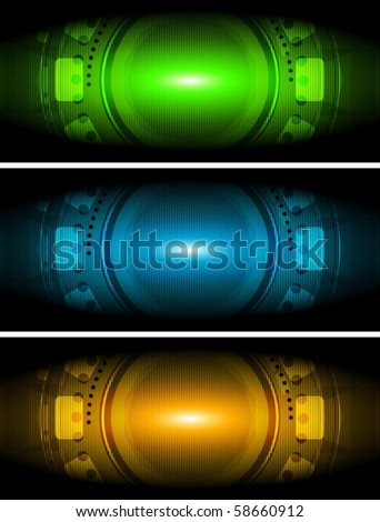 Colourful tech banners collection - stock vector