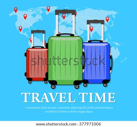 Colorful travel bags folded world map vectores en stock 622889462 colourful travel concept vector flat banner with travel bag and world map travel suitcase gumiabroncs Image collections