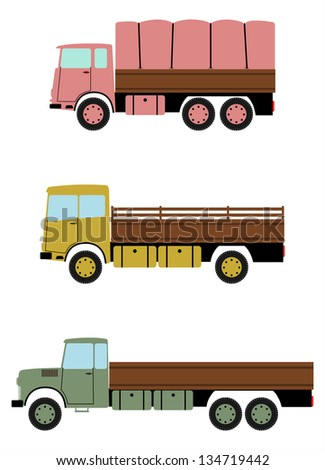 Colourful truck in retro style on a white background. - stock vector
