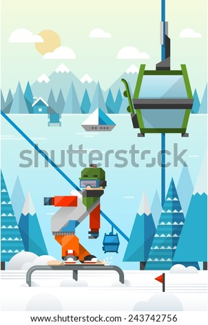 colourful vector background with snowboarder in the mountains - stock vector