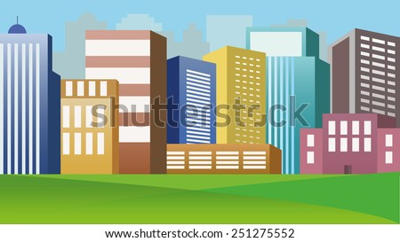 Colourful  Vector City Buildings - stock vector