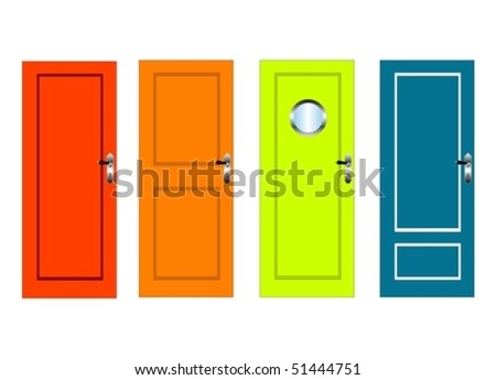 Colourful vector doors with panels - stock vector
