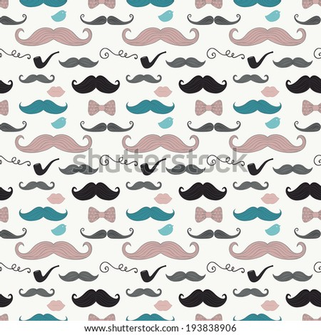 Colourful Vintage Seamless Background Pattern with Cute Retro Hipster Doodle Icons. Mustache, Pipe, Bow Tie - stock vector
