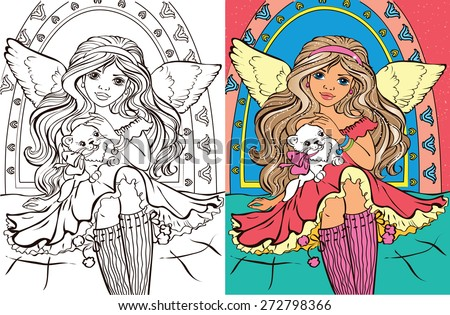 Colouring book.Beautiful angel girl with a kitty - stock vector