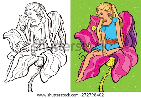 Colouring book.Beautiful Thumbelina is sitting on a flower - stock vector