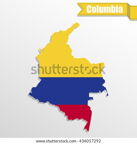 Columbia map with flag inside and ribbon