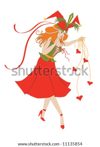 Columbine plays with the hearts - stock vector