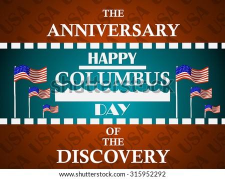 Columbus Day Greeting Card 2 - stock vector